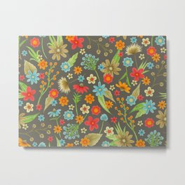 bright floral on warm charcoal Metal Print