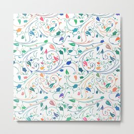 Multicolor Floral Design Metal Print