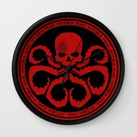 hydra Wall Clocks featuring Hail Hydra! by livinginamovie
