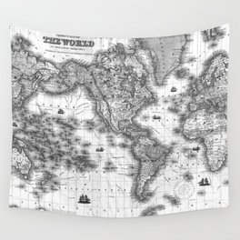 Black and White World Map (1852) Wall Tapestry