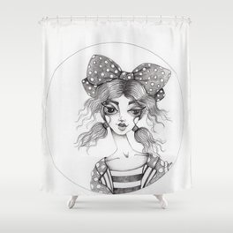 JennyMannoArt Graphite Illustration/Emma Shower Curtain