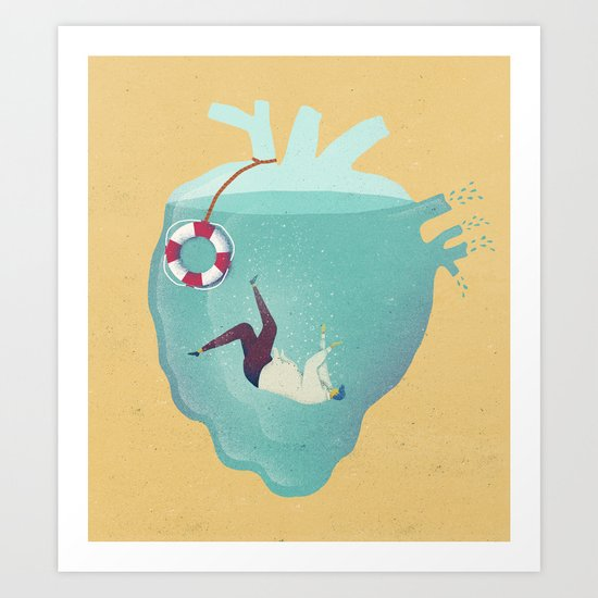 Drowning in love Art Print
