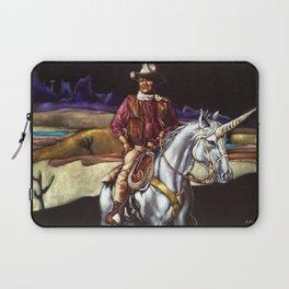 Black Velvet John Wayne Riding a Unicorn Laptop Sleeve