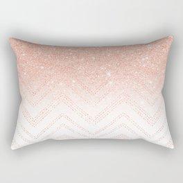 Faux salmon gold glitter ombre modern chevron pattern Rectangular Pillow