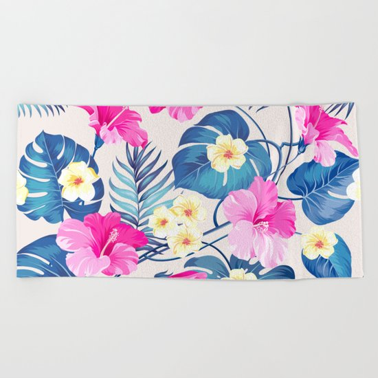 Tropical Pattern - Blue & Pink version Beach Towel