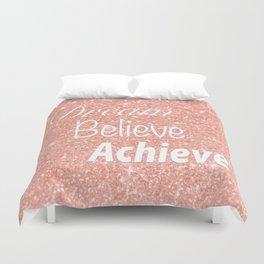 Dream Believe Achieve Rose Gold Duvet Cover