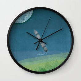 Jules Verne's From the Earth to the Moon - Minimalist literary design, bookish gift Wall Clock
