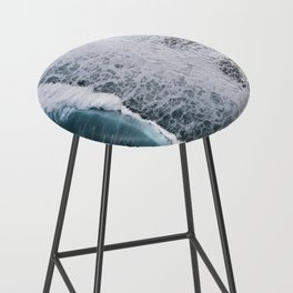 Aerial of a Black Sand Beach with Waves - Oceanscape Bar Stool