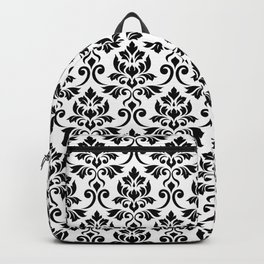 Feuille Damask Pattern Black on White Backpack