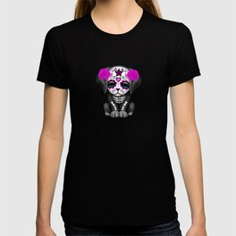 Cute Purple and Blue Day of the Dead Puppy Dog T-shirt