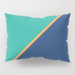 Mint & Dark Blue - oblique Pillow Sham