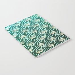 Teal golden Art Deco pattern Notebook