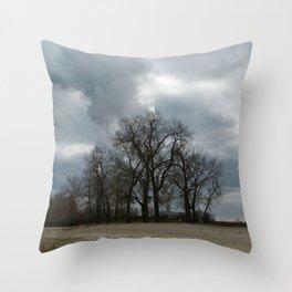 Steam Clouds Treeline Throw Pillow