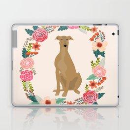 greyhound dog floral wreath dog gifts pet portraits Laptop & iPad Skin