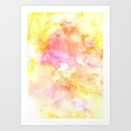 Pink and Yellow Abstract Art Print