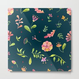 Watercolor Summer Flower Pattern Metal Print