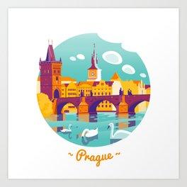 Prague and swans Art Print