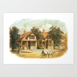 Vintage Victorian Houses illustration, Horse Carriage, Two People with Tennis Rackets Art Print