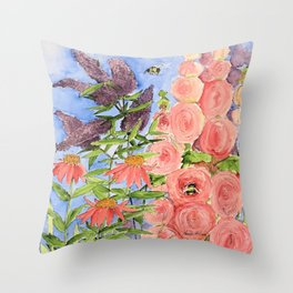 Cottage Garden Butterfly Bush Watercolor Illustration Throw Pillow