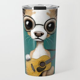 Chihuahua Puppy Dog Playing Old Acoustic Guitar Teal Travel Mug