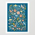 Dinosaurs + Unicorns in Blue + Coral by latheandquill