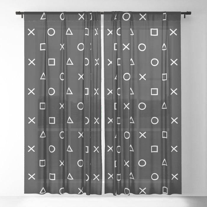 Gamer Pattern (White on Black) Sheer Curtain