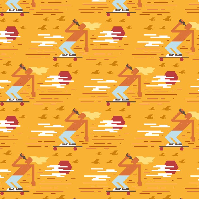 Skateboarders Holiday Pattern Duvet Cover