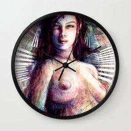 Mistress of the Chronos Gate - Woman Digital Painting Collage Wall Clock