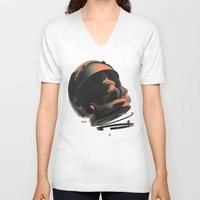 noir V-neck T-shirts featuring Space Skull Noir by Alex DiMella