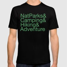 National Parks & Hiking & Camping & Adventure MEDIUM Mens Fitted Tee Black