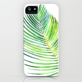 Watercolor palm leaf iPhone Case