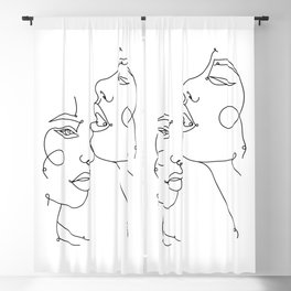 Two Abstract Faces Drawing, Fine One Line Art Blackout Curtain