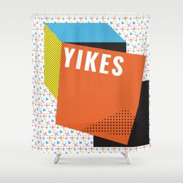 Bright Memphis Throwback Retro 1990s 80s Trendy Hipster Pattern Coral Shower Curtain