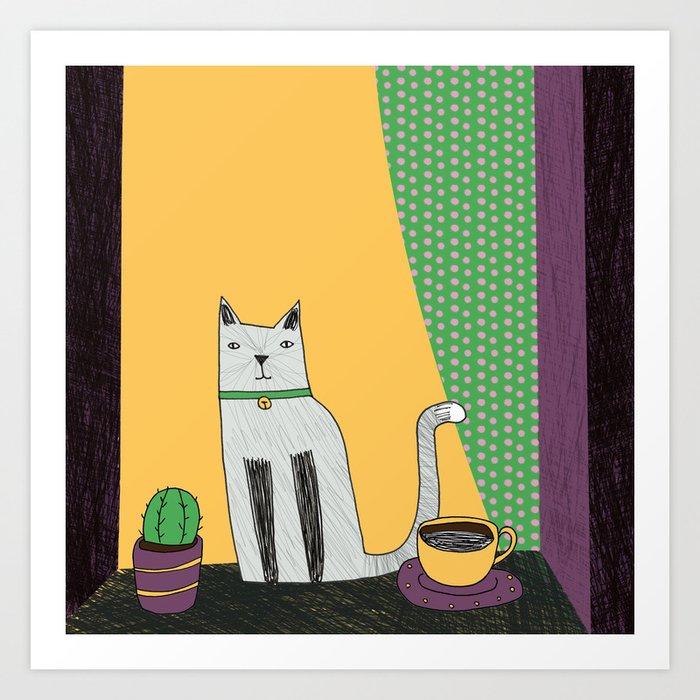 Cat at the window Art Print