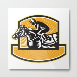 Horse Racing Side Woodcut Retro Metal Print