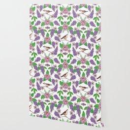 Lilacs, Peonies, Hellebore, & Sparrows - Pink & Purple Flowers w/ Birds & Moths Wallpaper