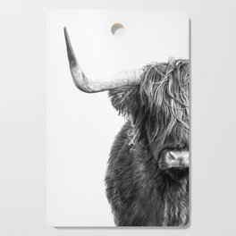 Highland Cow Portrait - Black and White Cutting Board