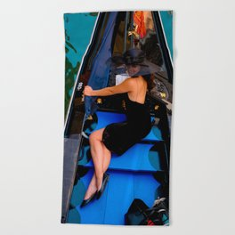 A lady on the boat, Street photography, urban, street photo, colorful, city, scene Beach Towel