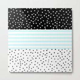 Modern black white teal stripes watercolor polka dots Metal Print