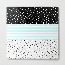 Modern black white teal stripes watercolor polka dots Metal Print