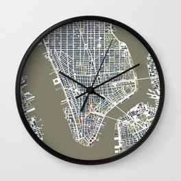 New York city map engraving Wall Clock
