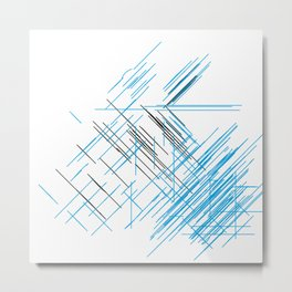 Lines, Blue and black Stripes Metal Print