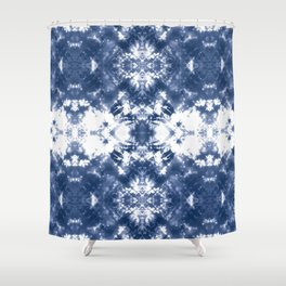 Shibori Tie Dye 4 Indigo Blue Shower Curtain