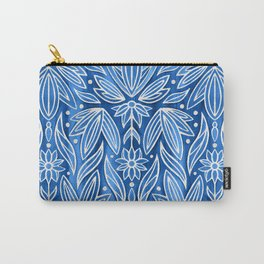 Rococo Silver Enamel Art Deco on Blue Carry-All Pouch