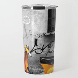 Orange Vespa in Bologna Black and White Photography Travel Mug