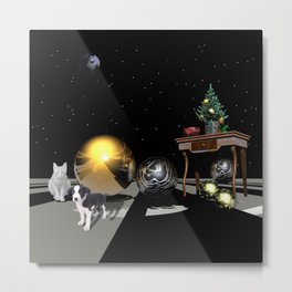 A Sci-Fi Christmas scenery with a cat and a dog Metal Print
