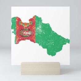 Distressed Turkmenistan Map Mini Art Print