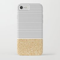 stripes iPhone & iPod Cases featuring Minimal Gold Glitter Stripes by Allyson Johnson