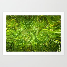 Psychedelic turbulence green Art Print