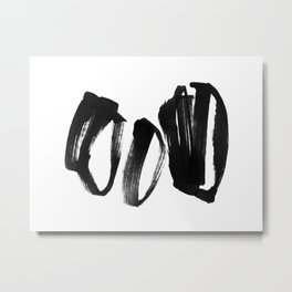 Black and White Abstract Shapes Ink Painting - Horizontal Metal Print